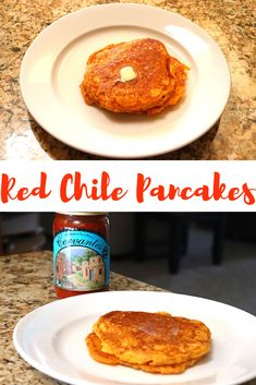 Red Chile Pancakes | newmexicanfoodie.com  #redchile #pancakes