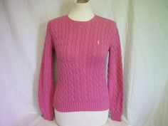 Ralph Lauren Pink Cable Knit Sweater 100% Cotton Size M
