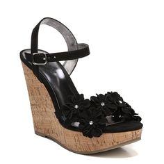 Carlos BY Carlos Santana Women's Belinda Wedge Sandals (Black Fabric)