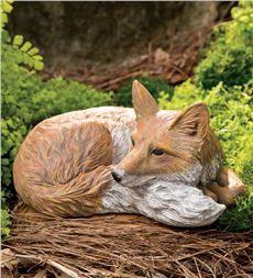 Laying Down Fox Garden Statue