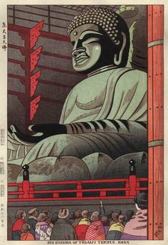 hanga gallery . . . torii gallery: Big Buddha of Todaiji Temple, Nara by Takeji Asano