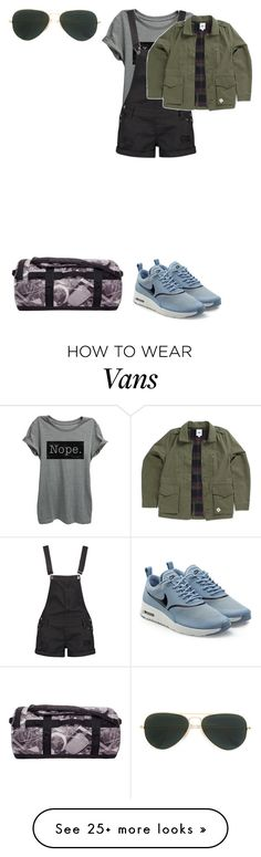 """""""#Melissa #CampingTime"""" by wallflowerofdesires14 on Polyvore featuring Thread Tank, Boohoo, NIKE, The North Face, Ray-Ban and Vans"""