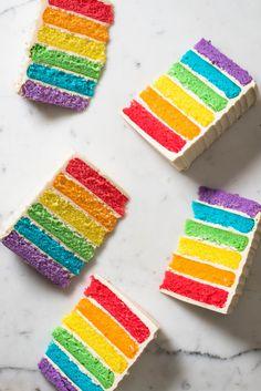 Happy Celebrate with our sturdy, six-layer rainbow ca… Rainbow Cake. Happy Celebrate with our sturdy, six-layer rainbow cake. Rainbow Layer Cakes, Rainbow Desserts, Rainbow Food, Cake Rainbow, Hazelnut Cake, Layer Cake Recipes, Zucchini Cake, Angel Cake, Rainbow Birthday
