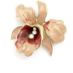 Mazer Orchid Brooch/Pendant Peach Burgundy Enamel, Clear Rhinestone... ($64) ❤ liked on Polyvore featuring jewelry, pendants, charm pendants, rhinestone pendant, enamel pendant, vintage rhinestone jewelry and flower pendant
