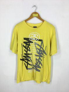 7cc6d020c28 STUSSY Skaters Tshirt Unisex Medium Yellow Vintage 1990 s Stussy Inc. Punk  Streetwear Skateboard Thrasher Magazine Usa Tshirt Size M