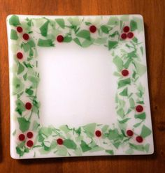 Fused Glass Holly Plate10 square with green by GlassBySarahAllen, $29.00