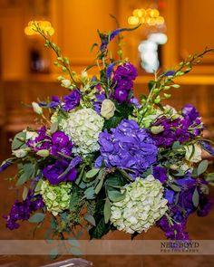 Green and Purple Wedding Centerpieces | Purple and green wedding flower centerpiece.