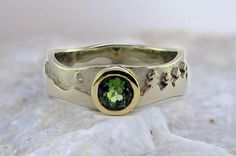 Aurora ring – Wide, 14K White & Yellow Gold, Green Tourmaline