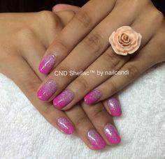 Glitterfall nails in CND Shellac Hot Pop Pink. So pretty! Shellac Nails, Pretty Nails, Pink, Beauty, Hot, Cute Nails, Belle Nails, Pink Hair, Beauty Illustration