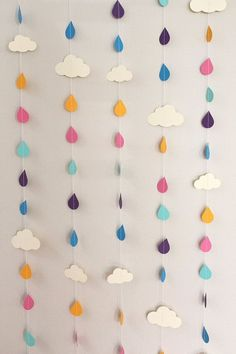 Rainbow Raindrops and Clouds Paper Garland - April Showers, Baby Showers, party decorations via Etsy