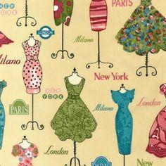 M2411 Tecido Robert Kaufman - Dress Up NY, Paris, London, Milano