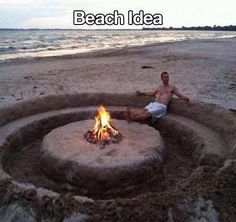 """Beach Fire pit ring with """"built in"""" seats. Sand sculpture at it's best :)"""
