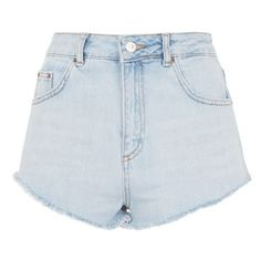 Women's Topshop Kiri Cutoff Denim Shorts ($52) ❤ liked on Polyvore featuring shorts, bottoms, cut off shorts, topshop shorts, jean shorts, denim cut-off shorts and denim short shorts
