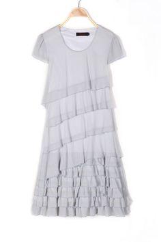 d260b255780c Gray Strapless Chiffon Sweet Princess Korean Cake Dress