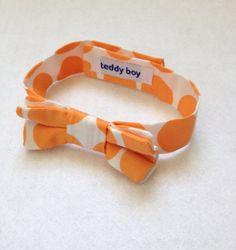 Baby Boy Bow Tie  orange and white polka dots cotton toddler