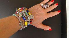 Tris di bracciali | Bracciali Boho | Bracciali colorati |Bracciali Charms |Perle Ceramica | Bracciale nappa| Turchese|  Perline colorate di Frammentidivetro su Etsy