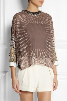 Biyan|Sigrid embellished silk-blend organza top