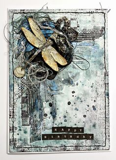 Happy Birthday 13Arts!! - Starting To Scrap, Love the texture in this mixed media art.