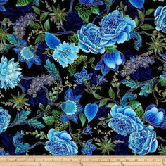 Tree of Life Metallic Eden Large Floral Black from @fabricdotcom  Designed by Chong-A Hwang for Timeless Treasures, this cotton print collection is perfect for quilting, craft projects, apparel and home décor accents. Colors include shades of blue, purple and green on a black background. Features gold metallic accents throughout.