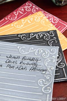Give an artfully antiqued look to embossed cardstock by gently rubbing the embossed surface with fine grit sandpaper. Instant aging!