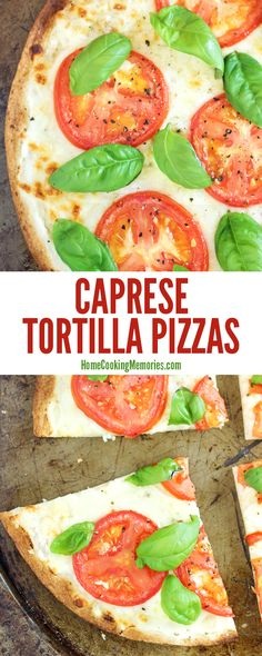 Super easy dinner idea: Caprese Tortilla Pizza recipe! They only take about 20 minutes to make & you only need about 6 ingredients: tortillas, fresh tomatoes, fresh basil, ricotta cheese, mozzarella cheese, and olive oil. Delicious, vegetarian, and a great way to use summer tomatoes!