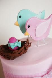 I love the topper for this cake, how the egg is wrapped in a bow :)