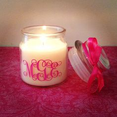 Monogram Jar Candle, 3oz. Perfect for Desk or Home Office! Makes a great gift or basket filler! on Etsy, $4.00