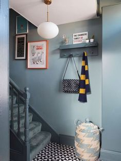 Dark Blue Hallway, Bright Hallway, Modern Hallway, Contemporary Hallway, Bright Walls, Hallway Paint Colors, Hallway Walls, Colours For Hallways, Stairs Colours