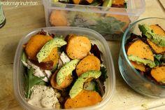 Fall inspired salad: beans, greens, hummus, sweet potato, chicken/turkey & avocado