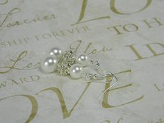 Wedding Earrings White Pearl Dangle Earrings by BridalTreasures4U