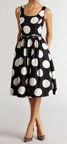 From its bold polka-dotted pattern to its belted, vintage-inspired silhouette, this black-and-white dress touts plenty of pizazz! This satin, tulle-lined frock offers much at which to marvel and lots to love! Beautiful Outfits, Cute Outfits, Mode Shoes, Moda Vintage, Retro Vintage Dresses, Mod Dress, Look Chic, Mode Inspiration, Dress Me Up