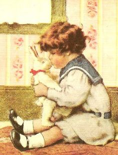 boy kissing bunny by in pastel, via Flickr