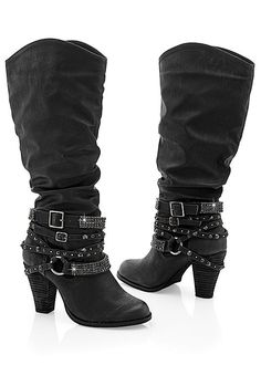 Step up your shoe collection with the Venus studded buckle boot.