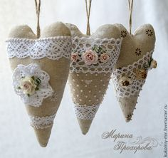 """Buy and order Hearts Tilda """"Christmas scent"""" on Livemaster online shop. Shipped over Russia and the CIS. Heart Decorations, Valentine Decorations, Valentine Crafts, Christmas Scents, Christmas Hearts, Shabby Chic Hearts, Shabby Chic Fabric, Fabric Hearts, Lavender Bags"""