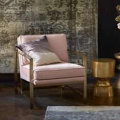 Brass Armchair with Pink Upholstery - Mad About The House
