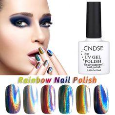 10 ML Rainbow Series de La Lámpara UV Gel Nail Polish Empapa Del Brillo Polaco del Gel 12 Colores de DIY Belleza Del Arte Del Clavo pegamento