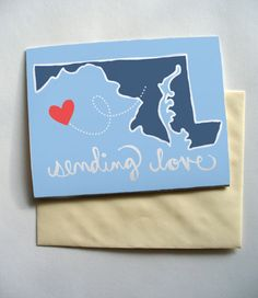Maryland Sending Love Printable Card by TheLivingstonLine on Etsy