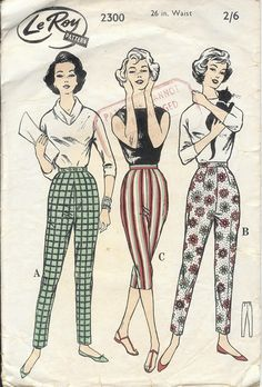 Vintage sewing pattern highwaisted trousers capri pants cigarette pants pedal pushers