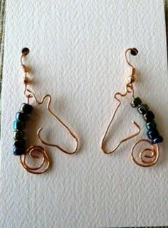 Simple wire wrapped horse earrings, could be used as a pendant as well.