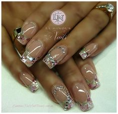 Luminous Nails: Soft Pink & White Marbleized Gel Nails with lots of Jewels...