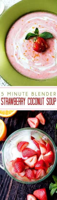 Easy Sweet and silky 5 Minute Blender Strawberry Coconut Soup is the perfect side or dessert for everyday or both delicious and beautiful for special occasions. Strawberry Soup, Strawberry Recipes, Strawberry Fields, Fruit Recipes, Dessert Recipes, Coconut Soup Recipes, Fruit Soup, Chilled Soup, Cooking Recipes