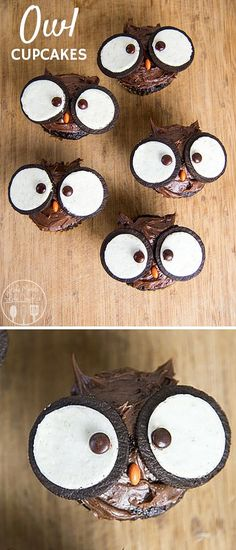 20 Cupcakes So Cute Theyre Almost Impossible to Eat The cutest owl cupcakes! Love these for a back to school party. (Cupcake Recipes For Kids) The post 20 Cupcakes So Cute Theyre Almost Impossible to Eat appeared first on School Diy. Holiday Treats, Halloween Treats, Holiday Recipes, Easy Halloween, Halloween Cupcakes Easy, Halloween Baking, Fall Treats, Just Desserts, Delicious Desserts