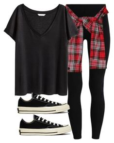 """""""Sin título #14313"""" by vany-alvarado ❤ liked on Polyvore featuring H&M and Converse"""