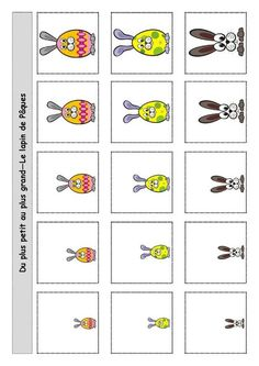Du plus grand au plus petit Easter Activities For Kids, Easter Crafts For Kids, Preschool Worksheets, Classroom Activities, Craft Day, Toddler Learning, Cool Baby Stuff, Easter Bunny, Kindergarten