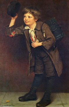Shine, Mister?, Oil On Canvas by John George Brown (1831-1913, England)