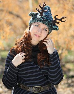Forest green brown horns knit hat woodland nymph headband festival cosplay costume druid deer ears adult animal winter beanie Christmas gift