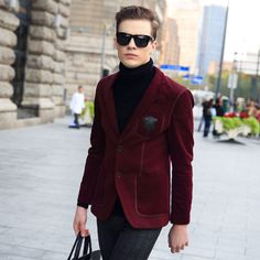 Crested blazer with turtleneck