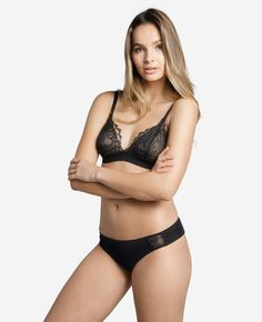 For days when you prefer just a lighter support, the lace triangle bra is the sweetest way to treat yourself. The sheer lined cups and Italian sensitive underband sit light and close to the body for all-day comfort. Crafted from intricate French Leaver French Lingerie, Triangle Bra, French Lace, Ethical Fashion, New Look, Bikinis, Swimwear, Thong Bikini, Lighter