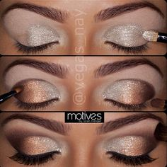Silver, gold, dark brown eye shadow