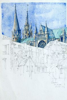 Jan Smit: pencil sketch with watercolour of Chartre Cathedral